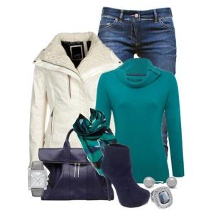 С чем носить синие ботильоны: синяя сумка, синие джинсы