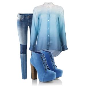 С чем носить синие ботильоны: голубые джинсы и рубашка