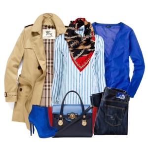 С чем носить синие ботильоны: свитер и рубашка в тон обуви