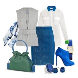 С чем носить синие ботильоны: сине-зеленая гамма