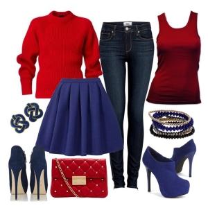 С чем носить синие ботильоны: красный