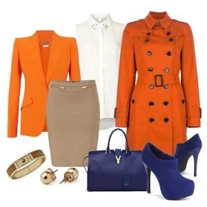 С чем носить синие ботильоны: оранжевый