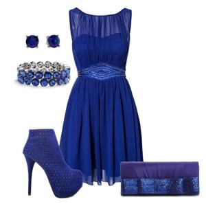 С чем носить синие ботильоны: синее платье