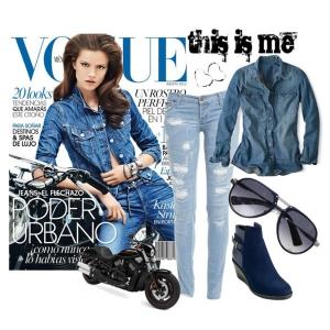 С чем носить синие ботильоны: голубые джинсы и джинсовка