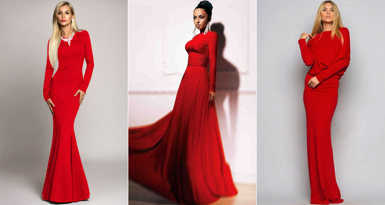 Красное платье с металлическим отливом